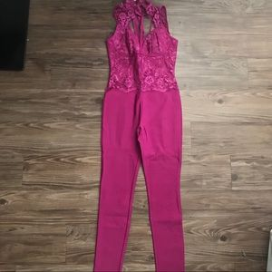 House of cb Hot pink magenta bandage jumpsuit